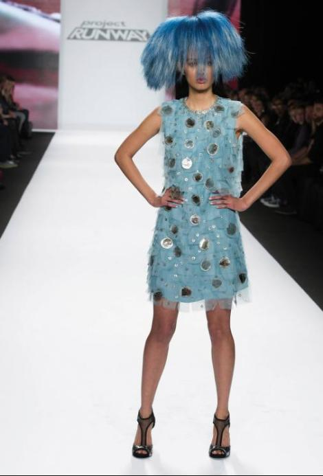 Patricia's blue horsehair headdress featured in the finale show of Project Runway at Mercedes- Benz Fashion Week in New York City