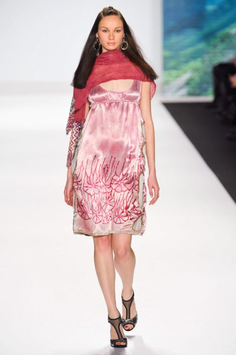 One of Patricia's designs featured in her show at Mercedes-Benz Fashion Week: a pink dress with exquisite floral beaded designs