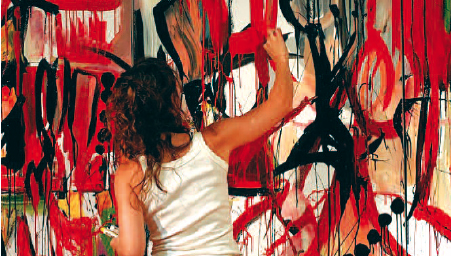 """Vicky Barranguet working on """"Painting Tango"""" with original music by Gustavo Casenave (her husband) at theMuseo del Barrio, 2007. Photography by Eduardo Milieris"""